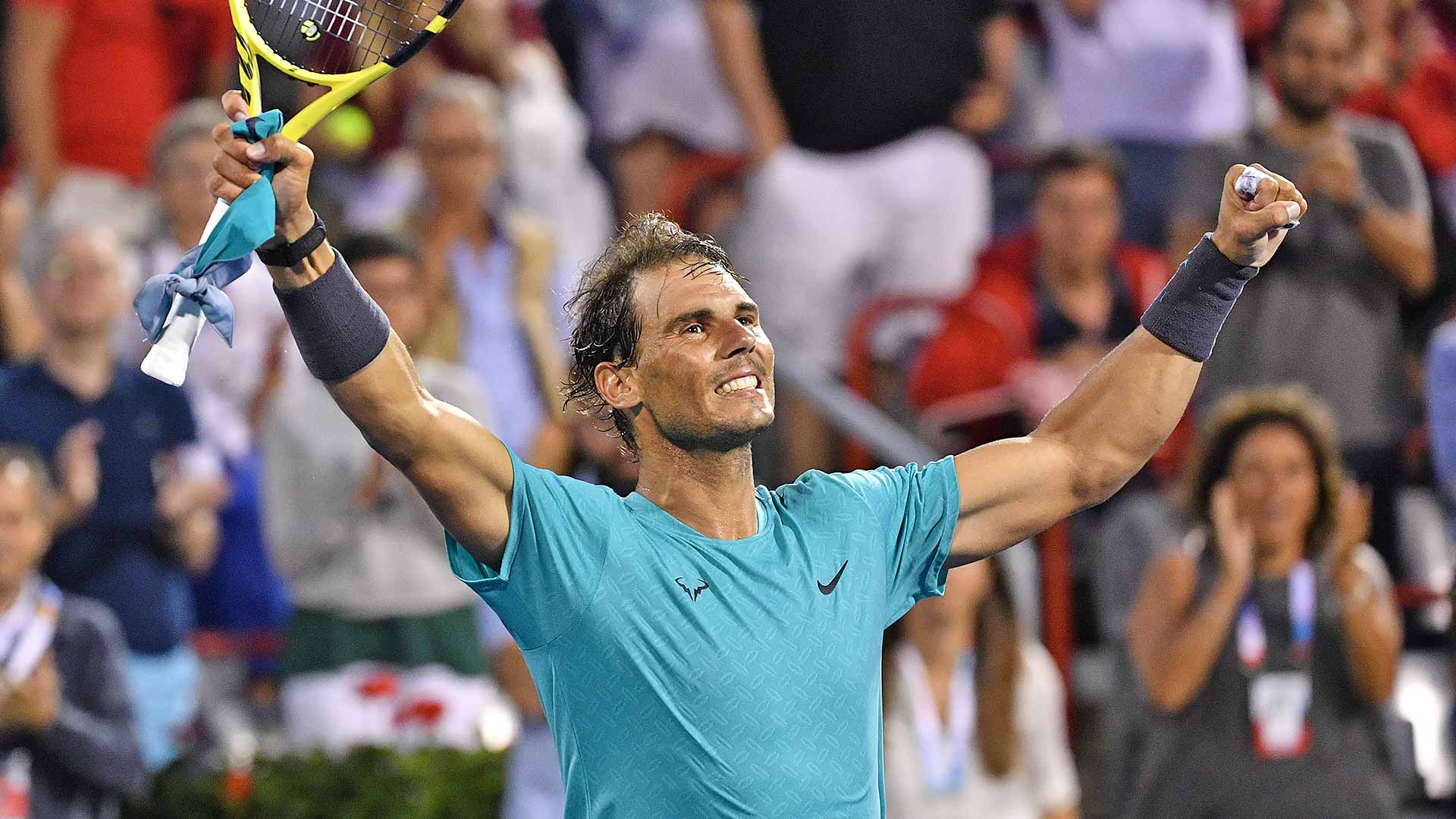 Rafael Nadal advances past Guido Pella on Thursday at the Coupe Rogers in Montreal
