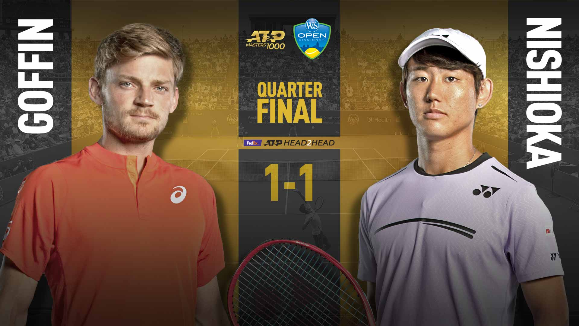 David Goffin and Yoshihito Nishioka will face off on Friday in the quarter-finals of the Western & Southern Open in Cincinnati