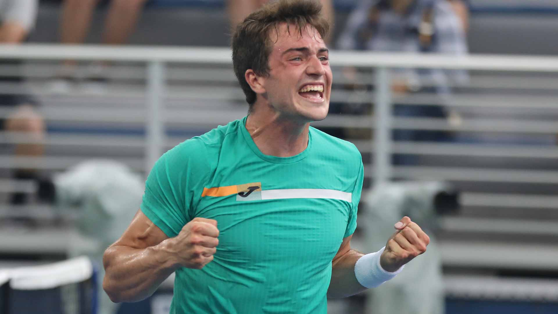 Spain's Pedro Martinez celebrates his big win against Tommy Paul on Wednesday at US Open qualifying.