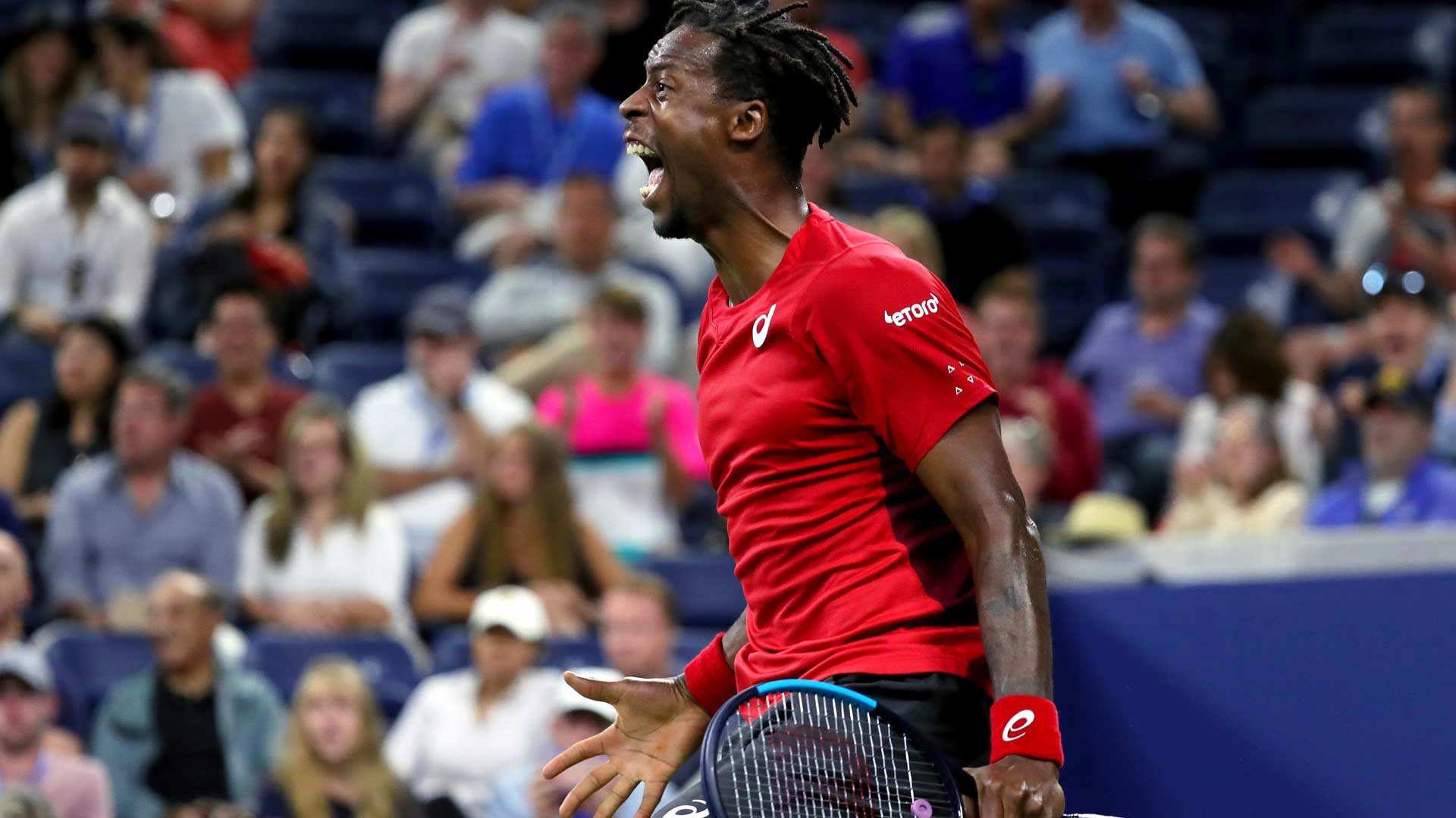 <a href='https://www.atptour.com/en/players/gael-monfils/mc65/overview'>Gael Monfils</a> reacts in his third-round match at the 2019 <a href='https://www.atptour.com/en/tournaments/us-open/560/overview'>US Open</a>
