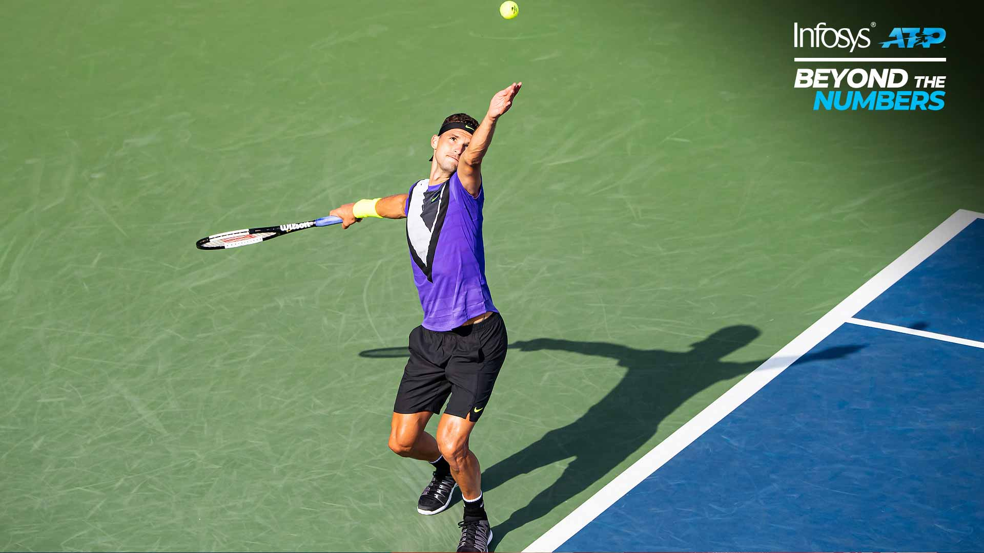 Grigor Dimitrov serves at the US Open 2019.