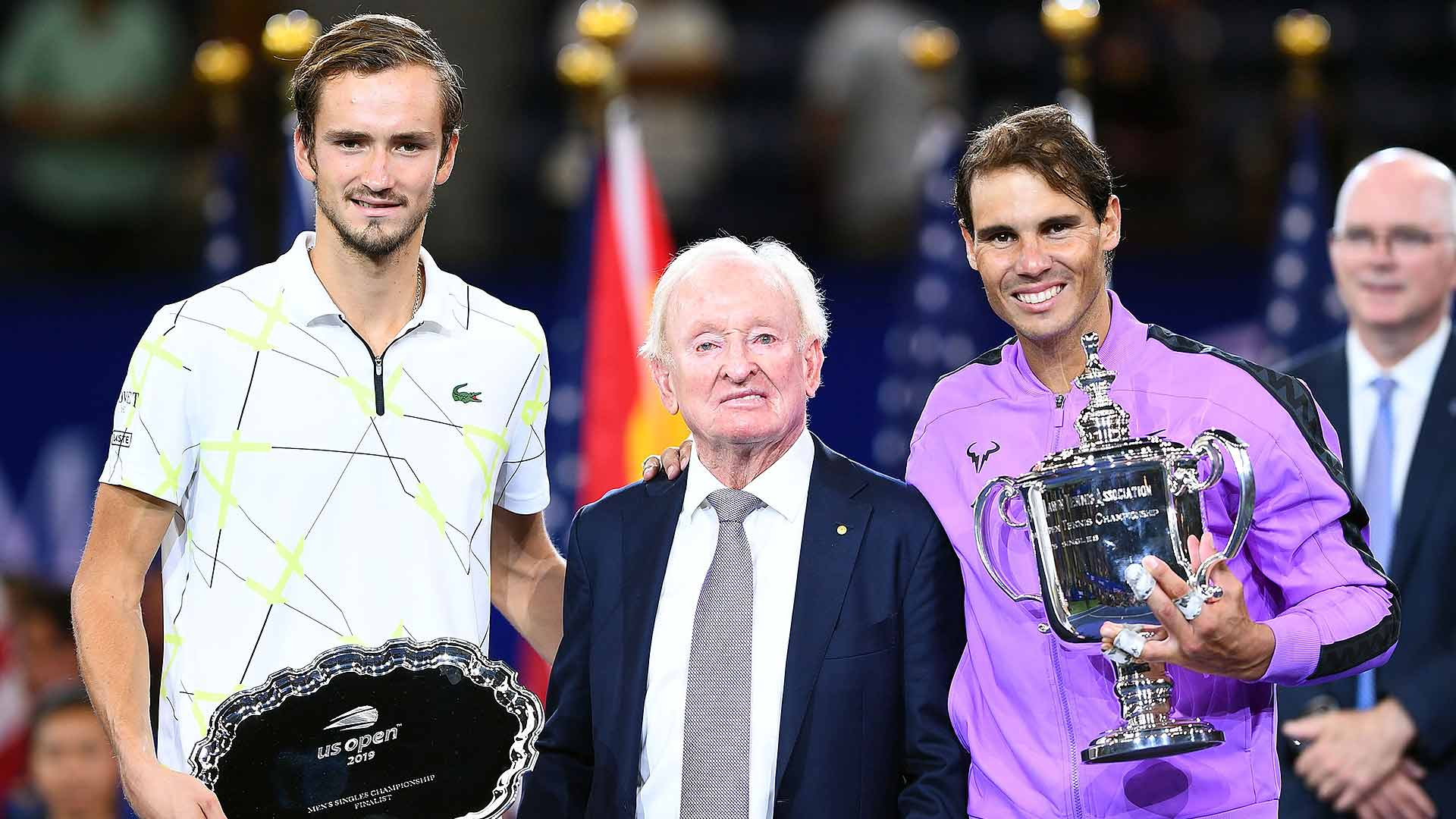 Daniil Medvedev, Rod Laver and Rafael Nadal at the US Open