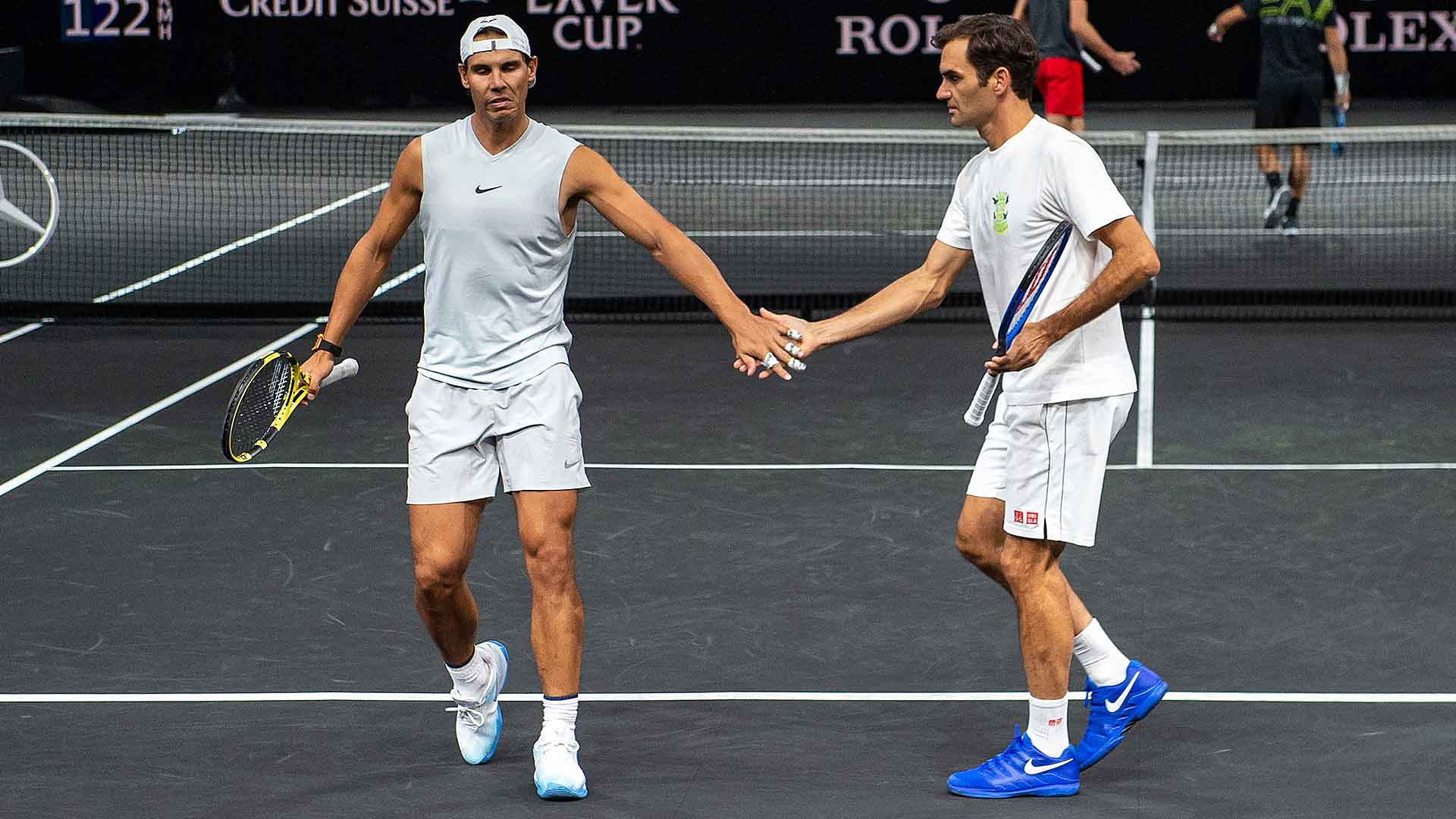 <a href='https://www.atptour.com/en/players/rafael-nadal/n409/overview'>Rafael Nadal</a> and <a href='https://www.atptour.com/en/players/roger-federer/f324/overview'>Roger Federer</a> practise ahead of the 2019 <a href='https://www.atptour.com/en/tournaments/laver-cup/9210/overview'>Laver Cup</a> in Geneva.