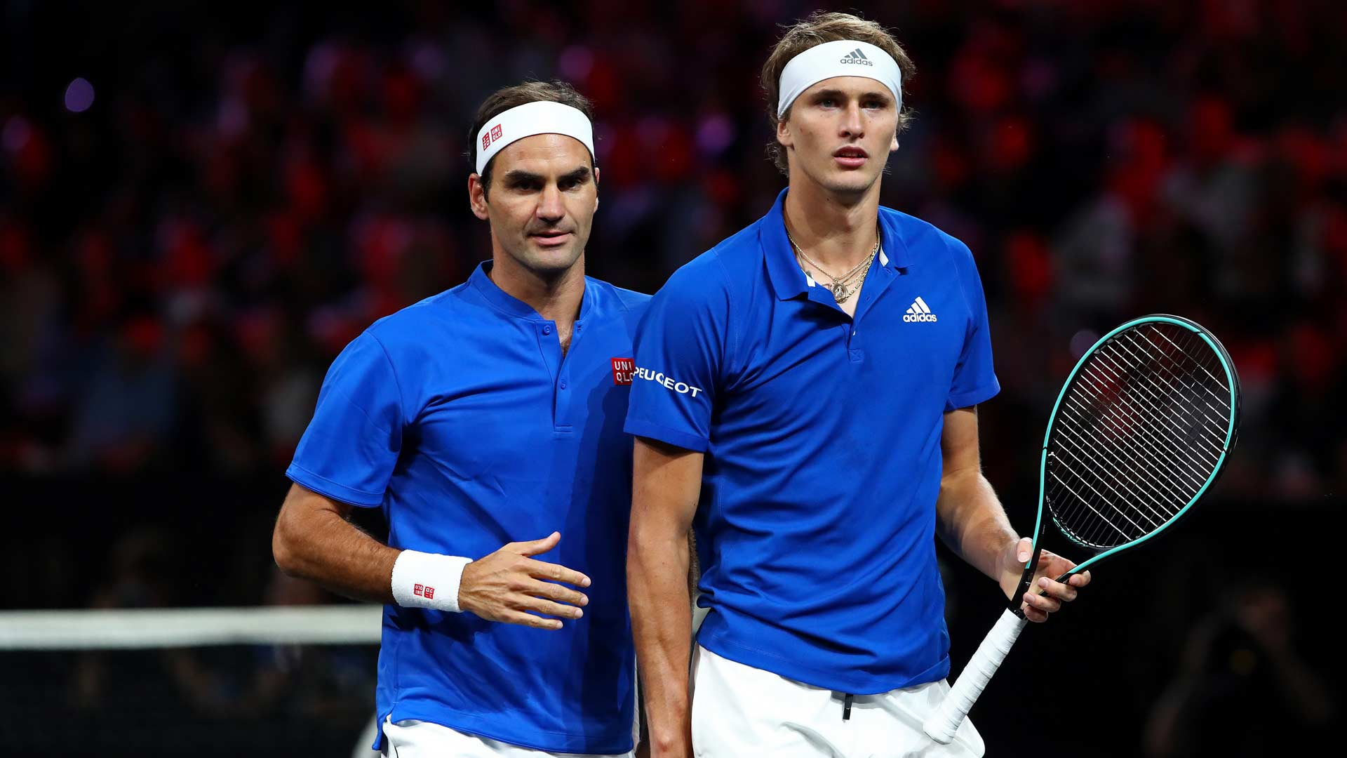 Roger Federer and Alexander Zverev in doubles action at Laver Cup 2019