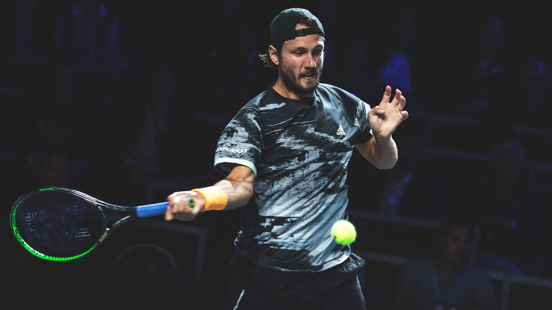 Lucas Pouille competes in the Metz 2019 quarter-finals