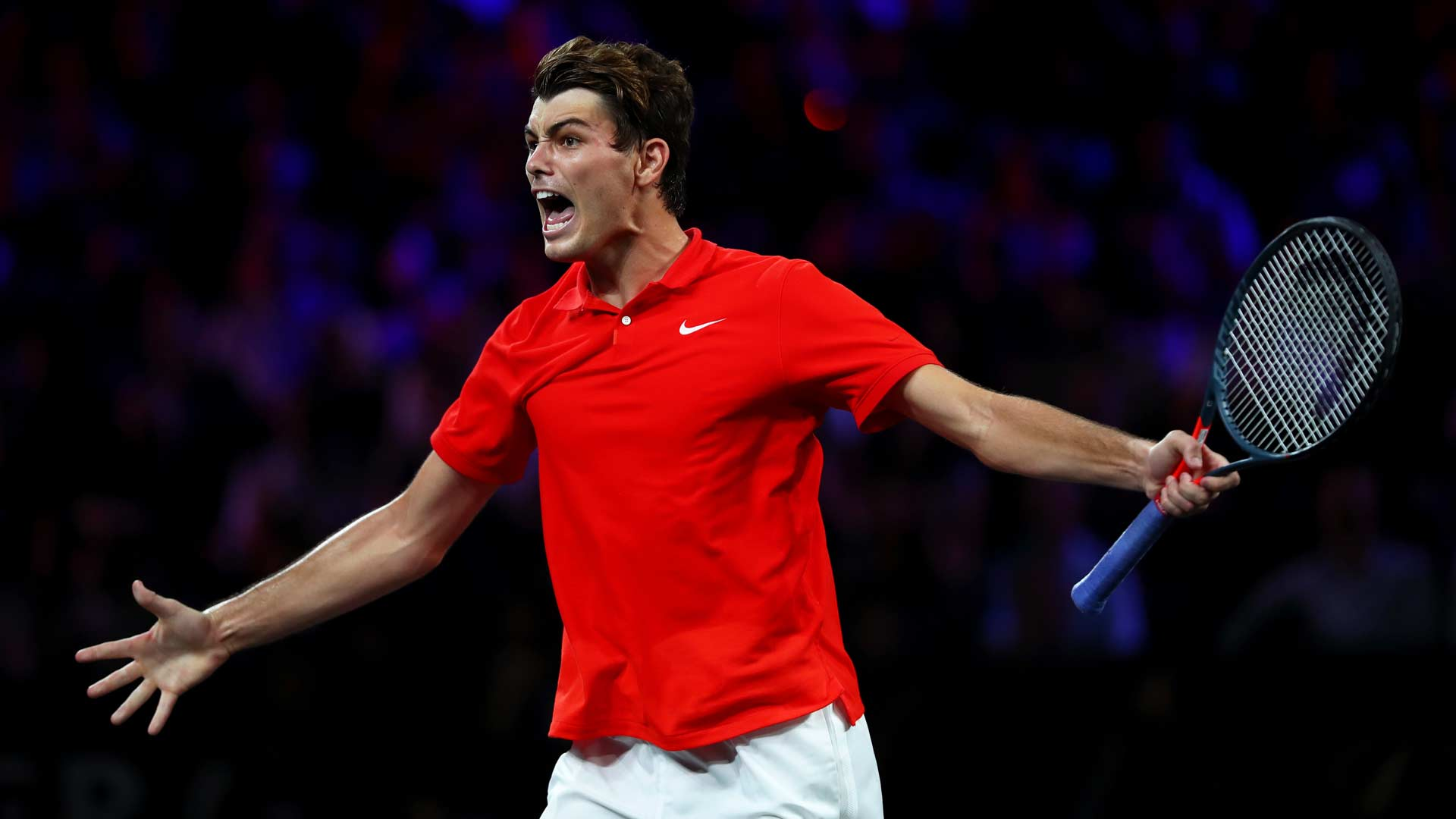 Taylor Fritz celebrates at Laver Cup 2019