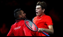 Taylor Fritz celebrates his win over Dominic Thiem at Laver Cup.