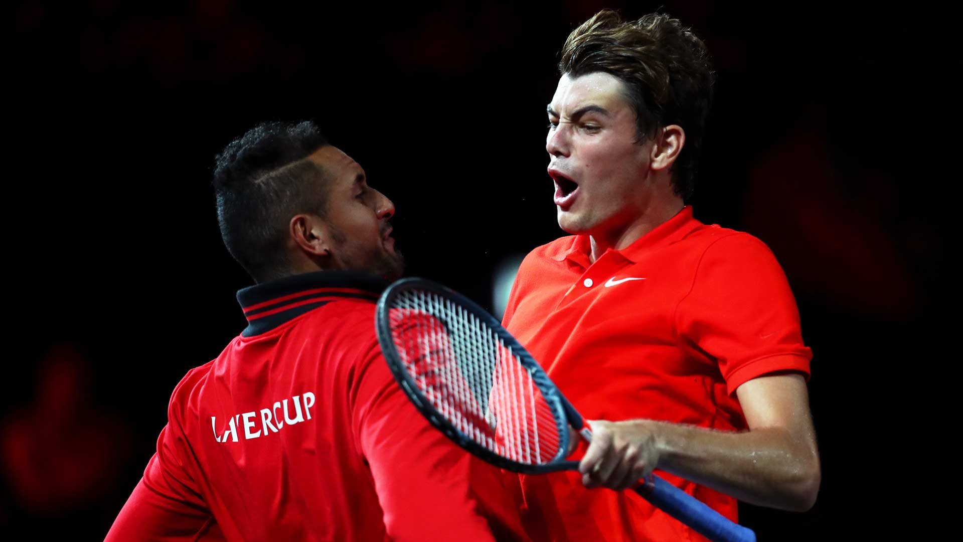 <a href='https://www.atptour.com/en/players/taylor-fritz/fb98/overview'>Taylor Fritz</a> reacts at <a href='https://www.atptour.com/en/tournaments/laver-cup/9210/overview'>Laver Cup</a> 2019