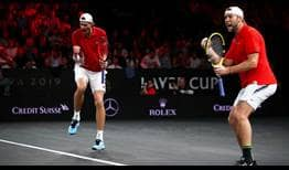 John Isner and Jack Sock celebrate their doubles win at the Laver Cup.
