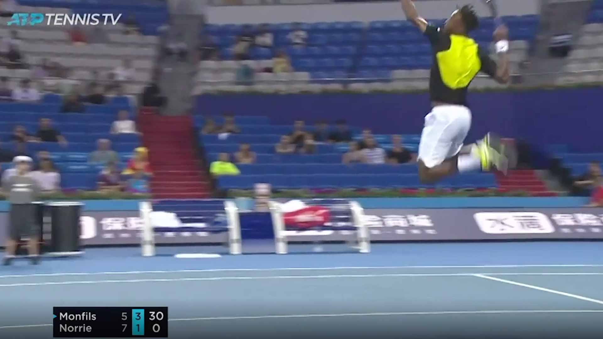 Gael Monfils goes airborne for a smash in Zhuhai