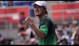 Taro Daniel celebrates reaching the Tokyo quarter-finals on Thursday with victory over Jordan Thompson.