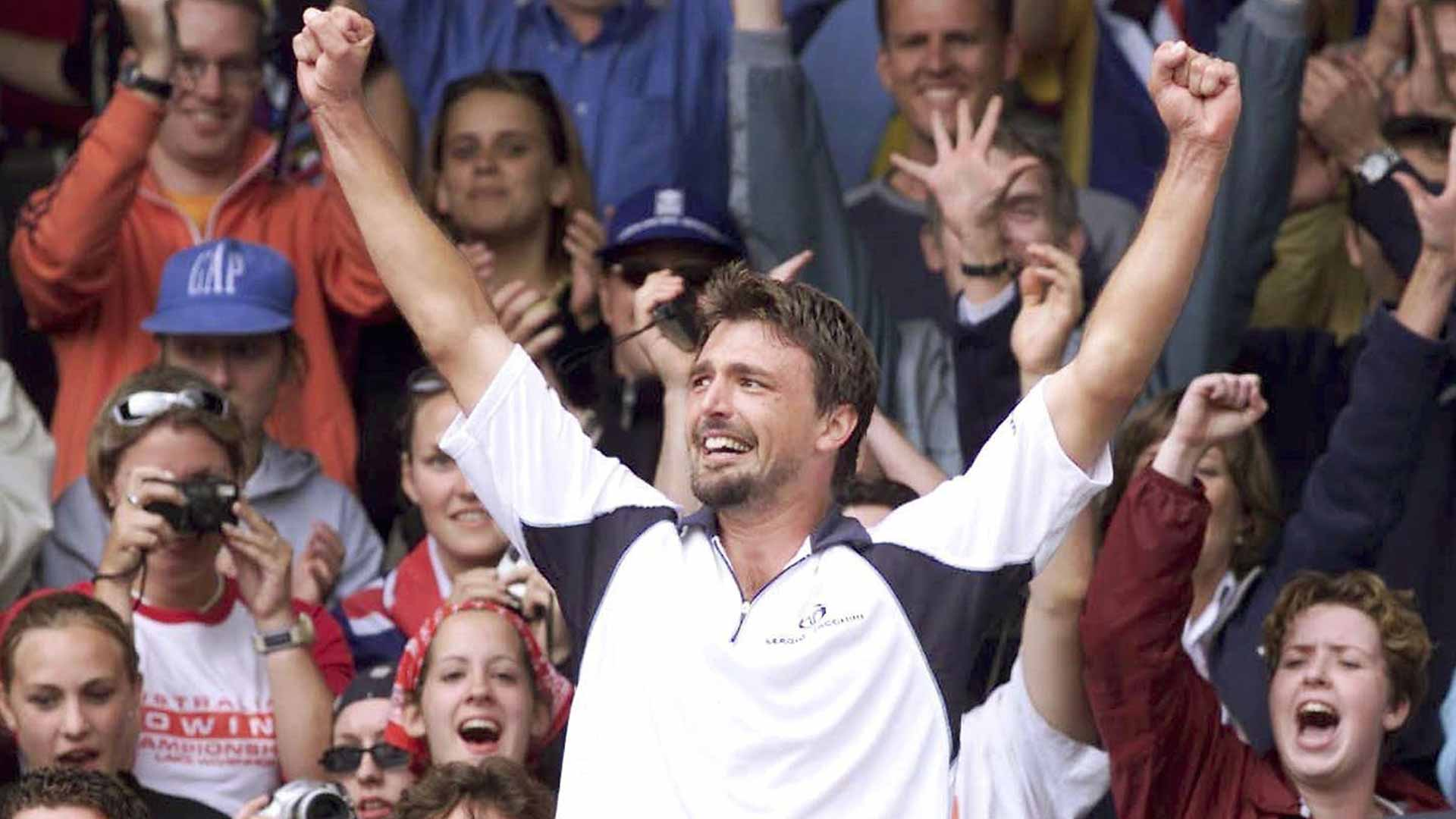 Goran Ivanisevic celebrates winning the 2001 Wimbledon title.