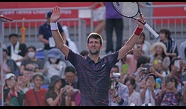 World No. 1 Novak Djokovic celebrates beating Lucas Pouille on Friday for a place in the Rakuten Japan Open Tennis Championships semi-finals.