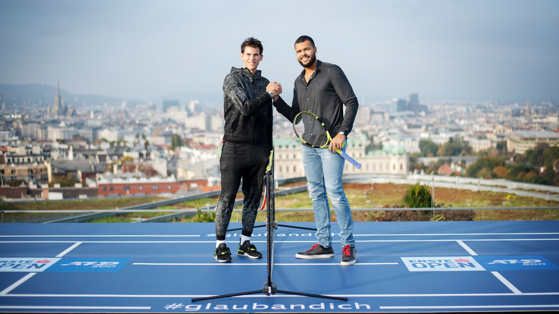 Dominic Thiem & Jo-Wilfried Tsonga on the Erste Campus roof