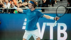 Andrey Rublev reacts in Moscow 2019