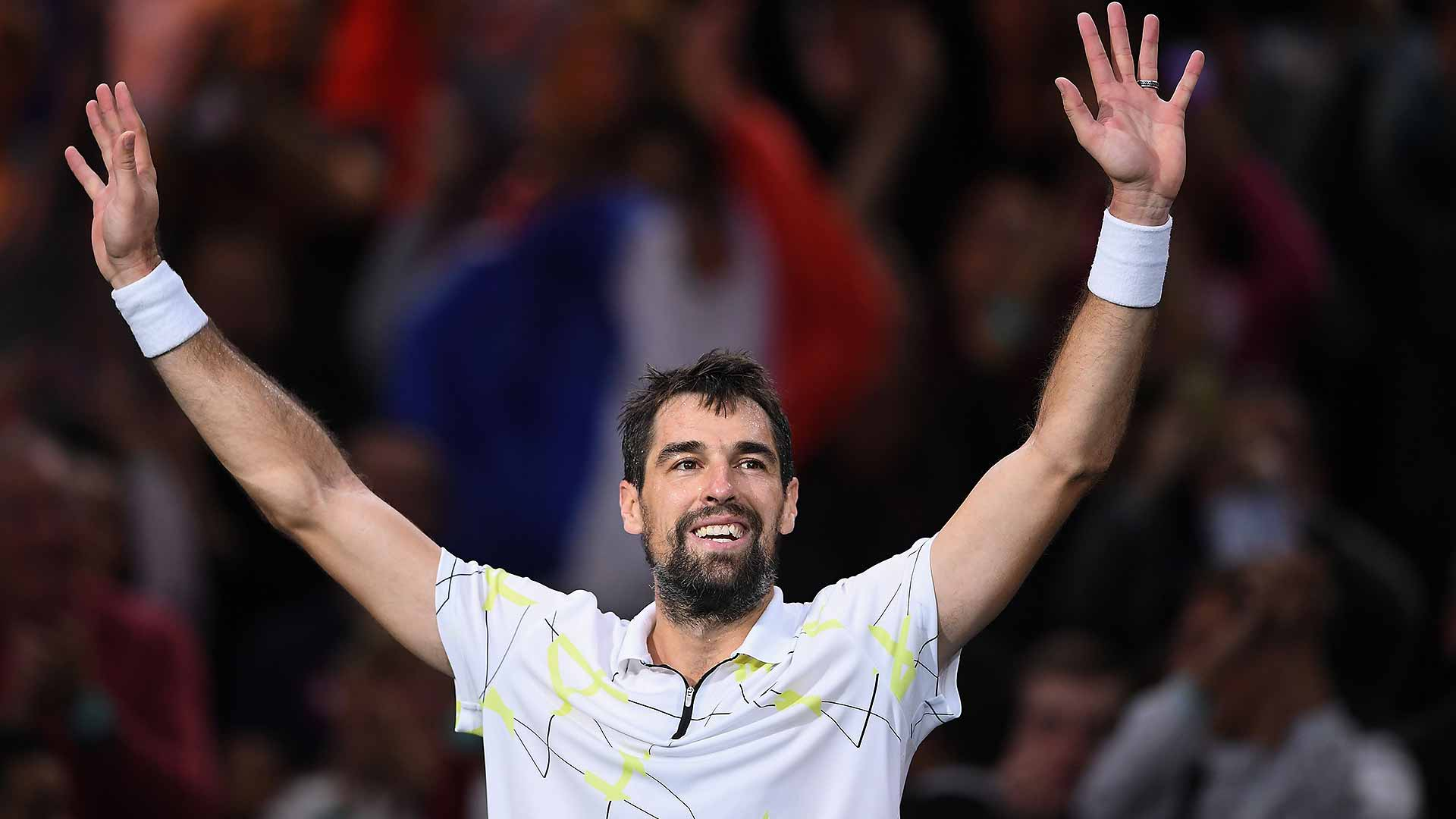 France's Jeremy Chardy picks up his 12th Top 10 win on Tuesday in Paris.