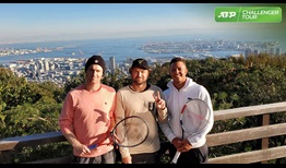 Luke Saville, Matt Reid and Jay Clarke take in the scenery high above Kobe, during the ATP Challenger Tour event in the Japanese city.