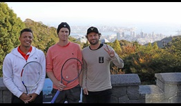 Jay Clarke, Matt Reid and Luke Saville take in the scenery high above Kobe, during the ATP Challenger Tour event in the Japanese city.