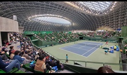 The futuristic tennis stadium at the Miki Disaster Prevention Park hosts the ATP Challenger Tour event in Kobe, Japan.