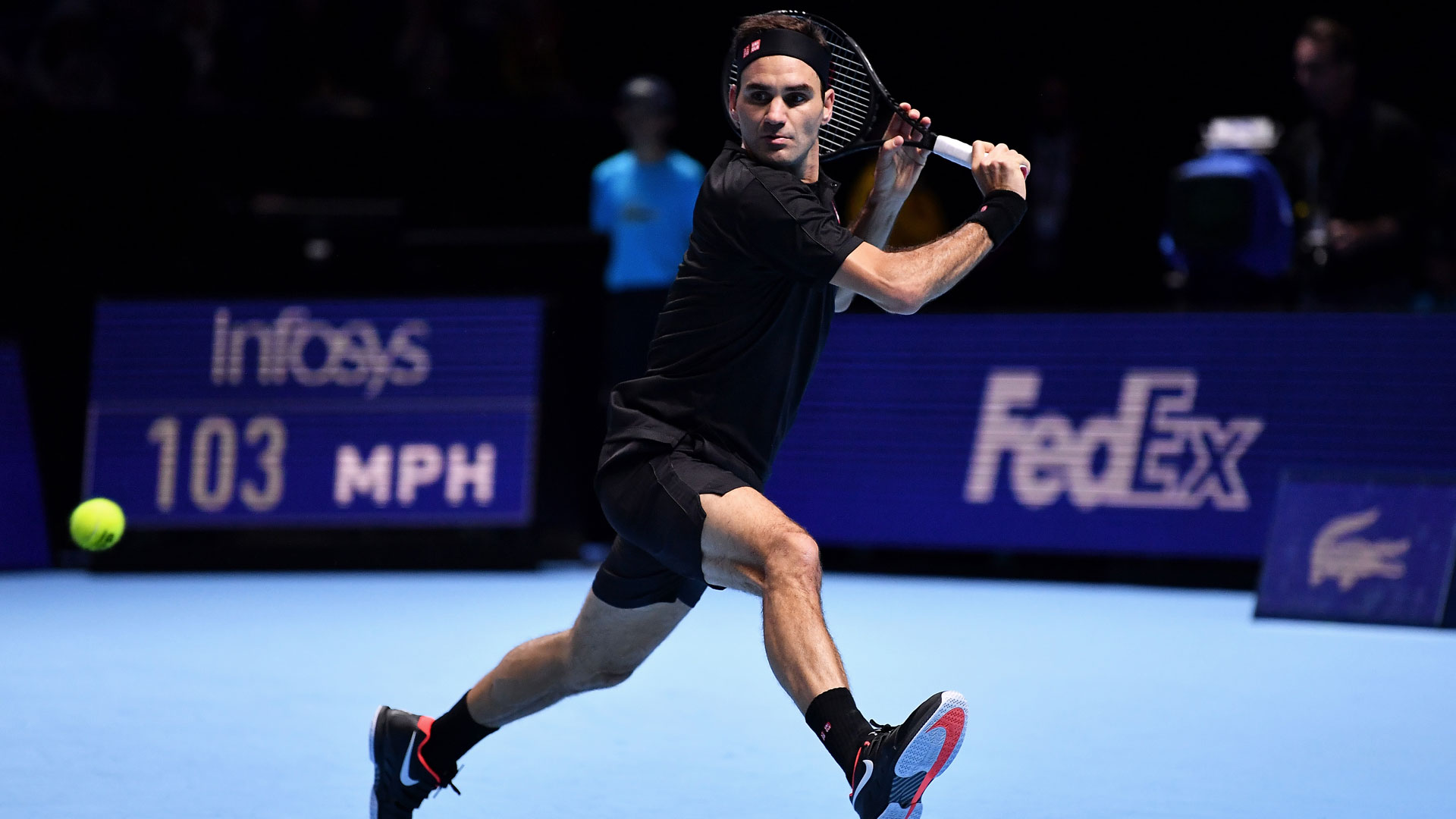 Roger Federer saves all three break points en route to beating Matteo Berrettini at the Nitto ATP Finals.