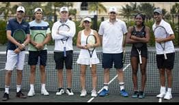 Bob Bryan, Tommy Haas, Mark Knowles, Arantxa Sanchez Vicario, Andy Roddick, Coco Gauff and James Blake come together to raise funds for Hurricane Dorian relief efforts at the Baha Mar Cup.