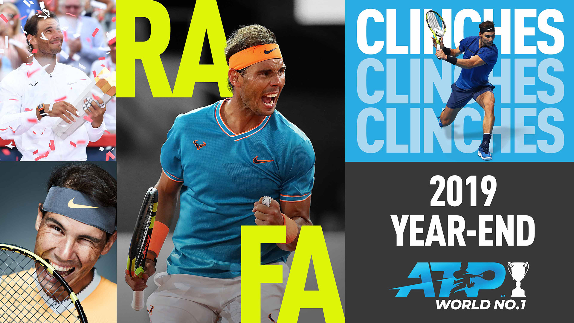 Rafael Nadal clinches the year-end No. 1 ATP Ranking for a fifth time in 2019.