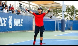 Marcos Giron celebrates the title at the ATP Challenger Tour event in Houston.