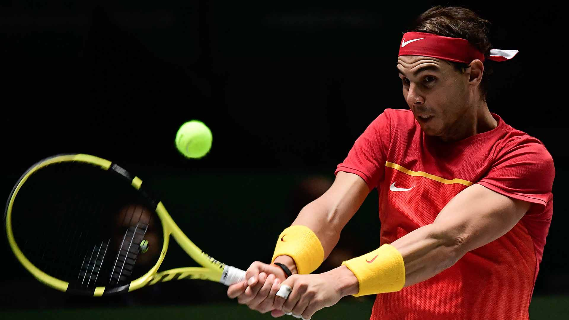 Rafael Nadal puts Spain on the board on Tuesday at the Davis Cup Finals in Madrid.