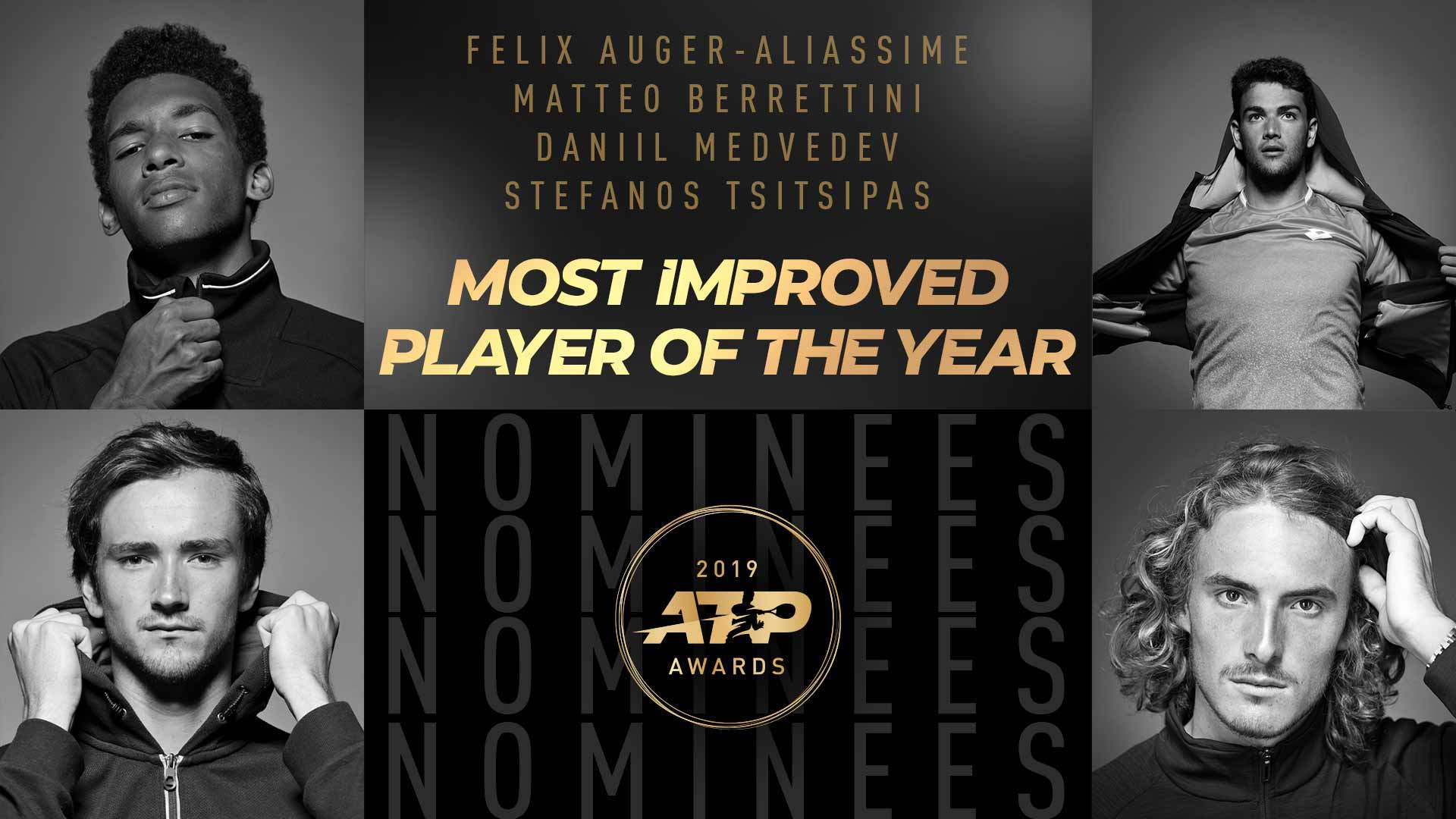 Felix Auger-Aliassime, Matteo Berrettini, Daniil Medvedev, Stefanos Tsitsipas | Most Improved Player Of The Year Nominees | 2019 ATP Awards