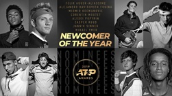 Felix Auger-Aliassime, Alejandro Davidovich Fokina, Miomir Kecmanovic, Corentin Moutet, Alexei Popyrin, Casper Ruud, Jannik Sinner, Mikael Ymer | Newcomer of the Year nominees | 2019 ATP Awards | #NextGenATP