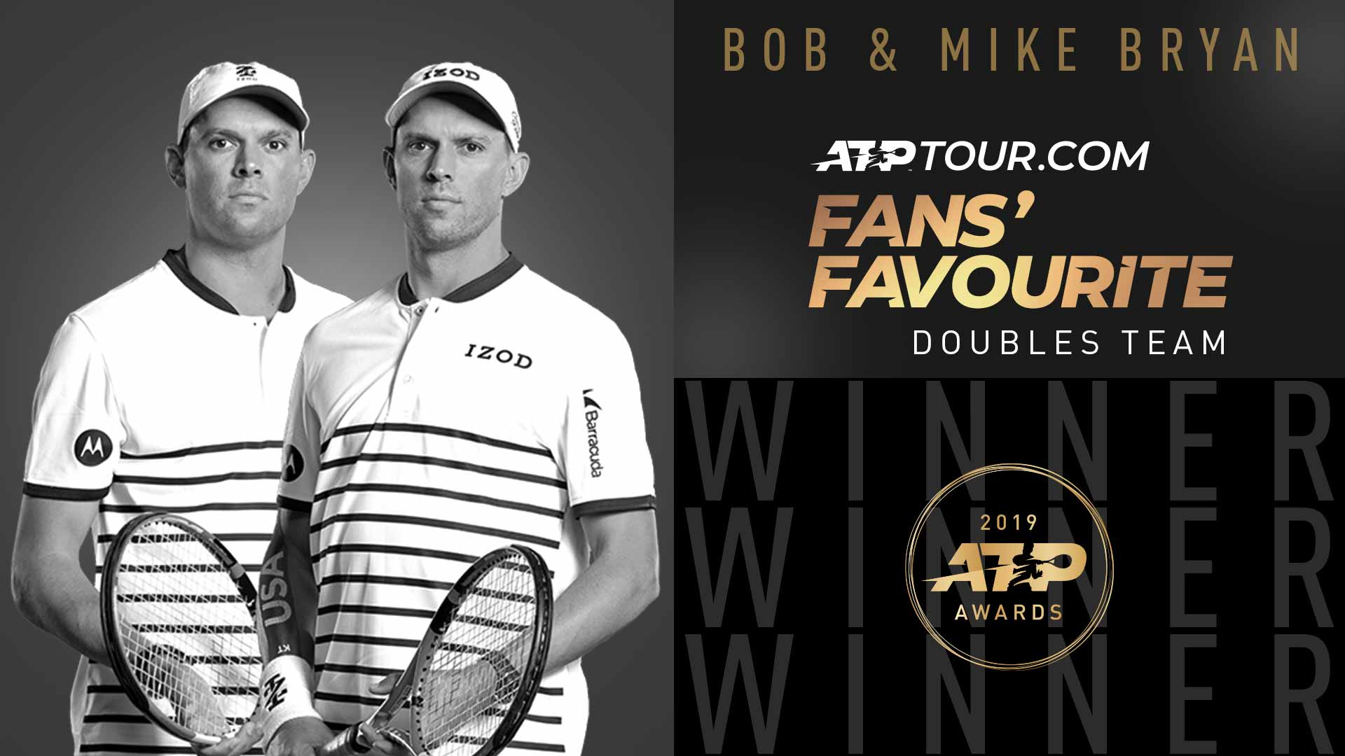 Bob and Mike Bryan claim the ATPTour.com Fan's Favourite Award in the doubles category for a record 14th time.