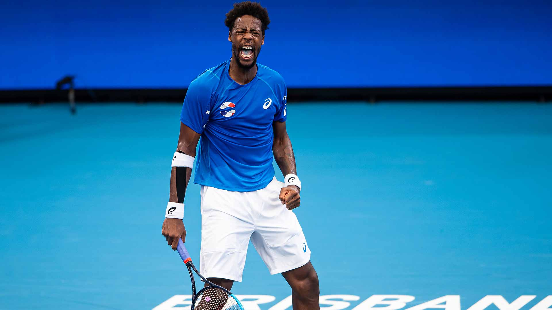 Gael Monfils wins his opening match at the ATP Cup on Saturday in Brisbane.