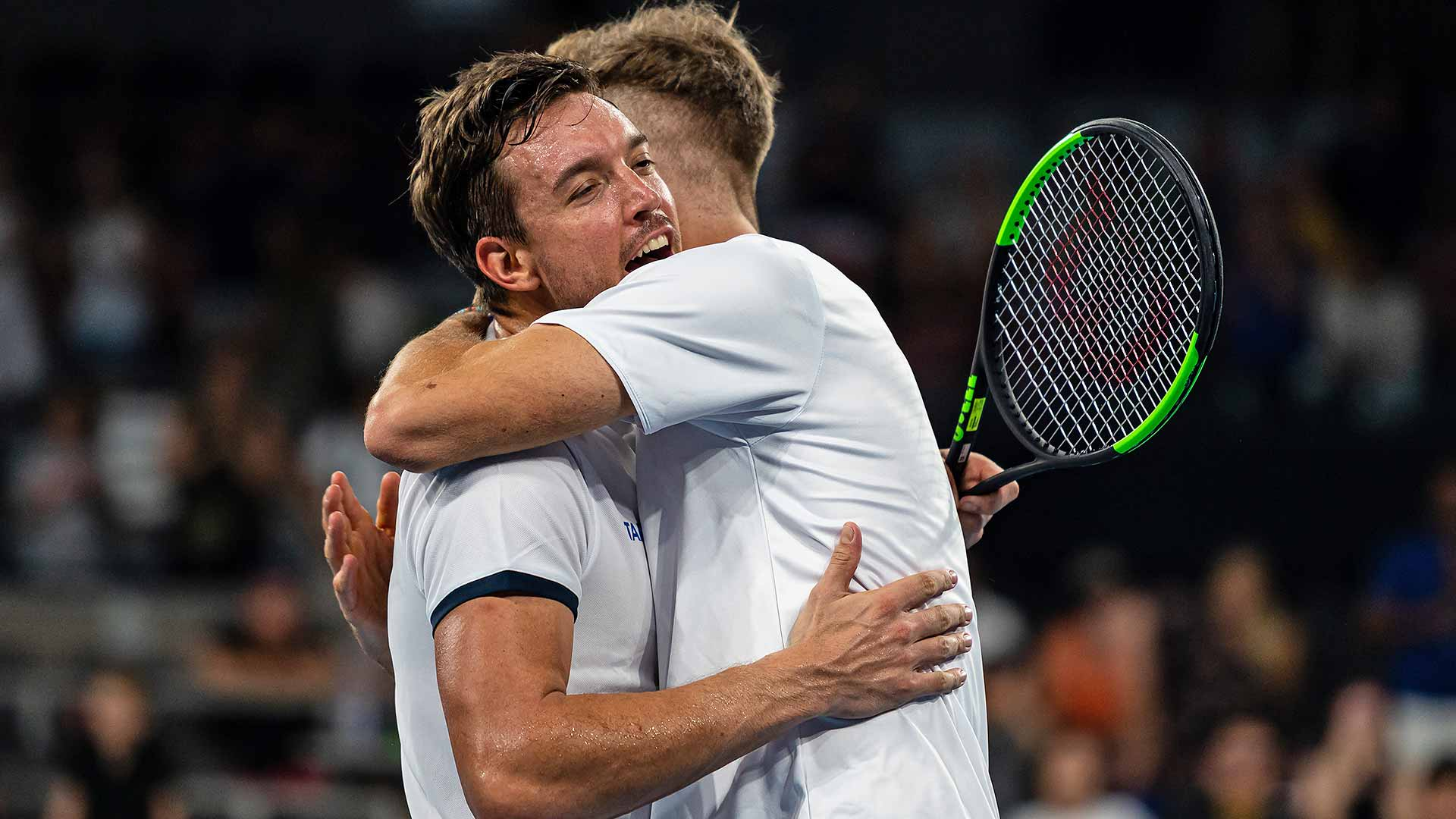 Andreas Mies/Kevin Krawietz celebrate winning the deciding doubles match on Sunday night at the ATP Cup in Brisbane.