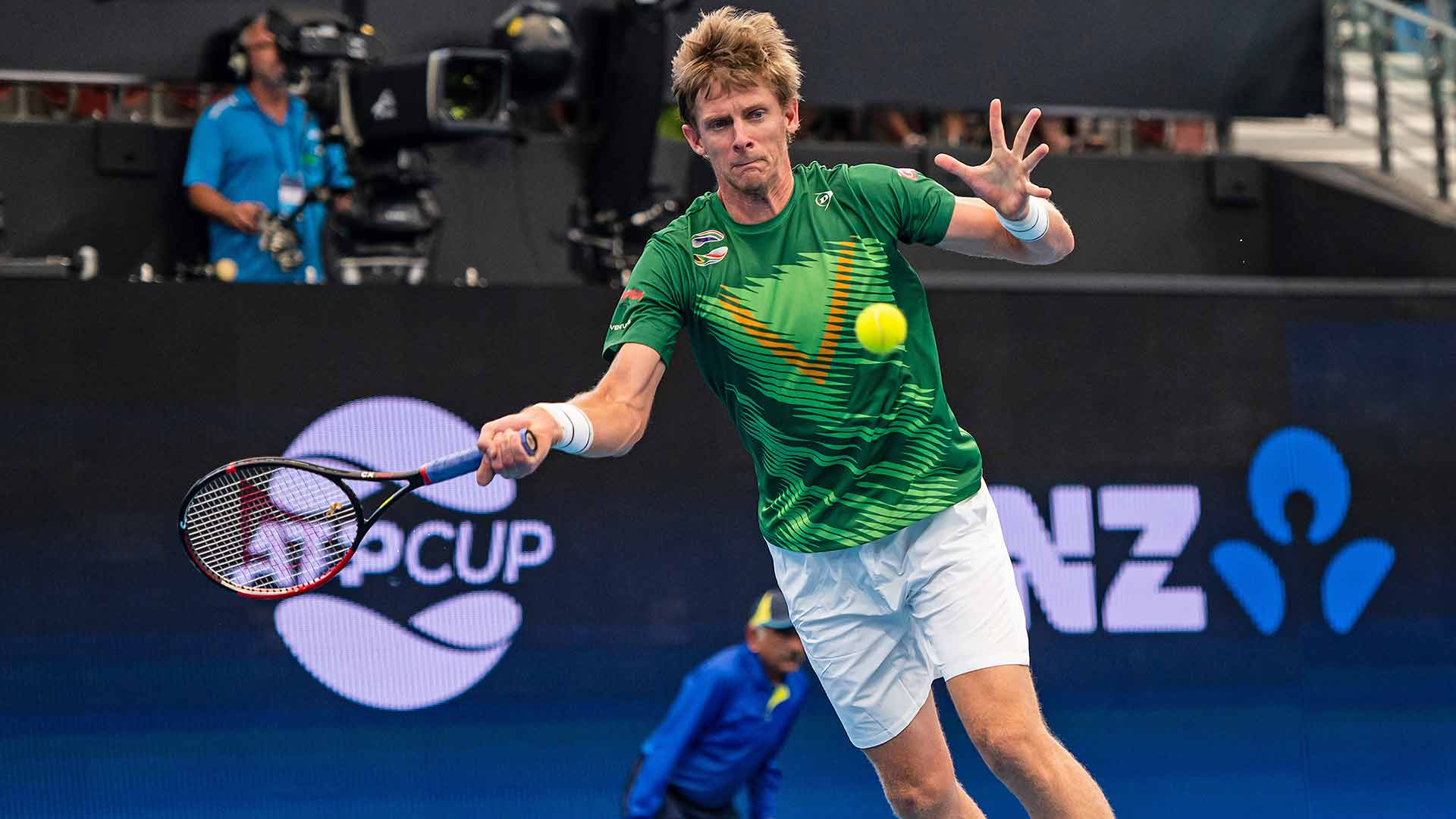 Kevin Anderson earns his first win of the 2020 season on Monday at the ATP Cup in Brisbane.