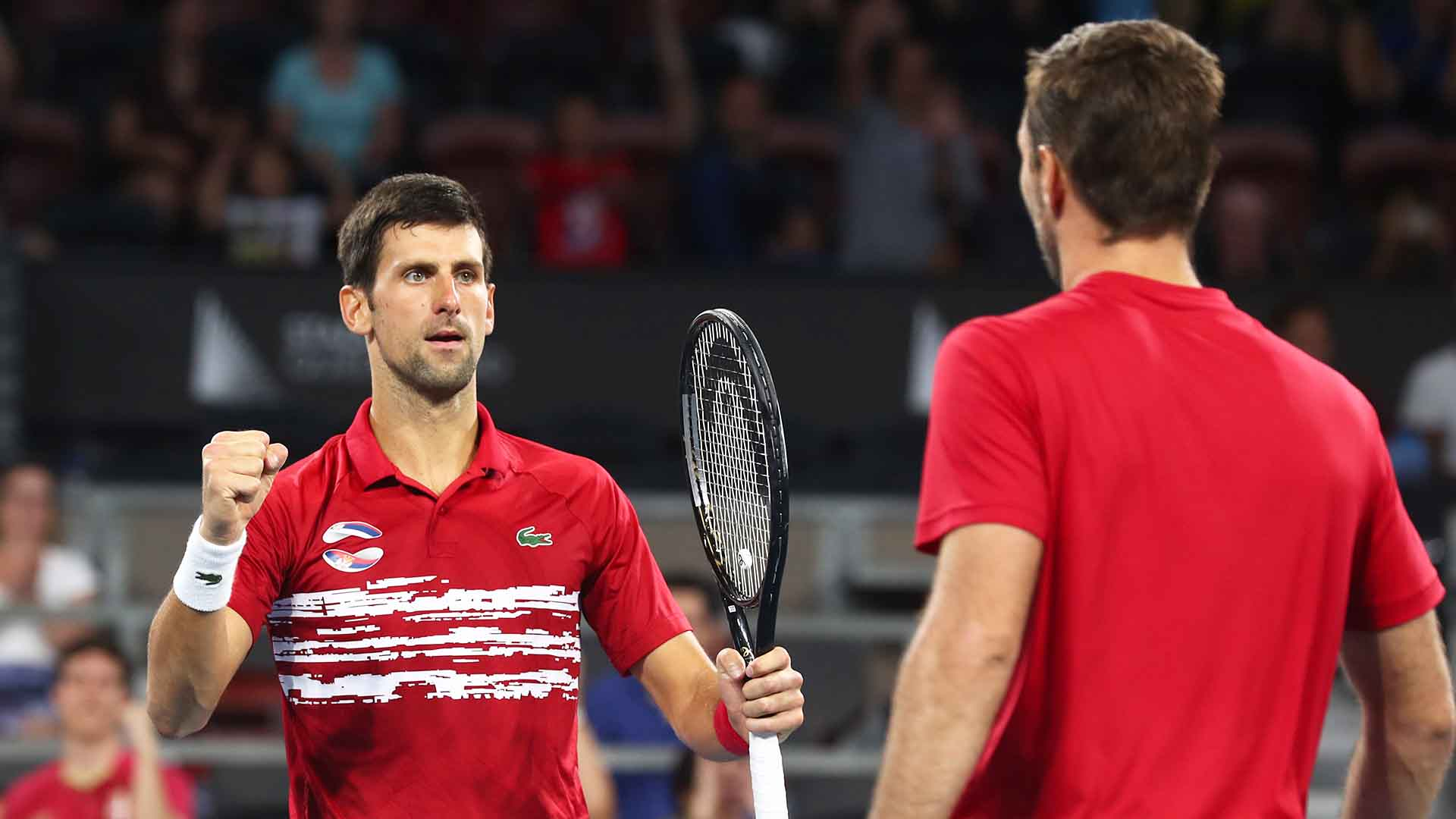 Novak Djokovic and Viktor Troicki beat Nicolas Mahut and Edouard Roger-Vasselin at the ATP Cup.