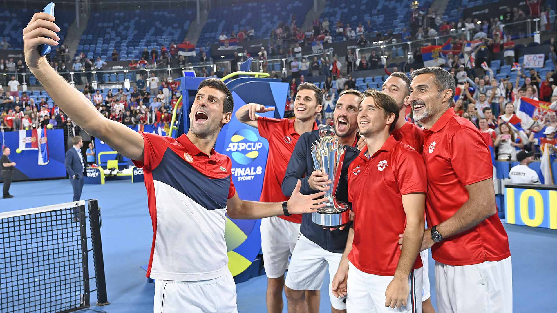 Team Serbia celebrates after beating Team Spain 2-1 to win the <a href='https://www.atptour.com/en/tournaments/atp-cup/8888/overview'>ATP Cup</a>.