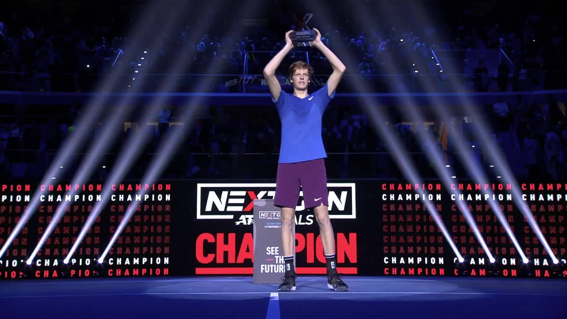 Jannik Sinner wins the 2019 Next Gen ATP Finals in Milan.