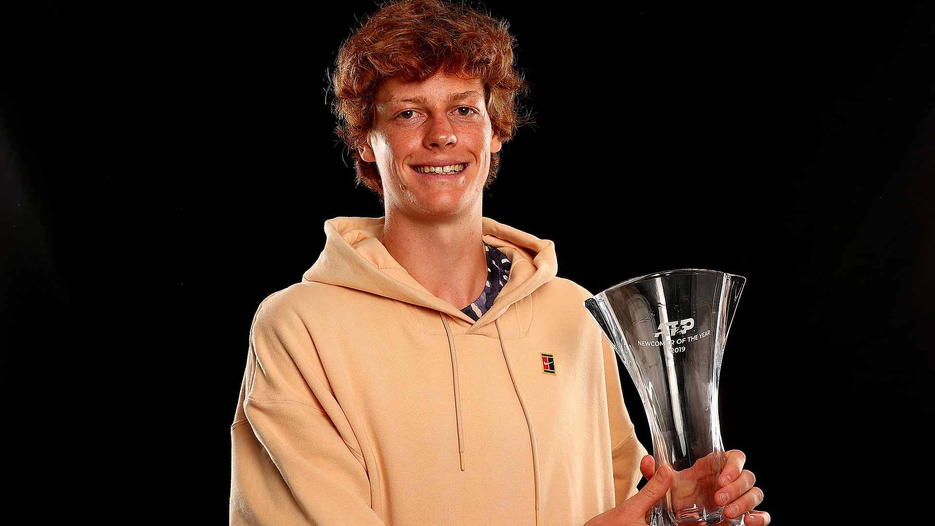 Italian Jannik Sinner receives the Newcomer of the Year in the 2019 ATP Awards.