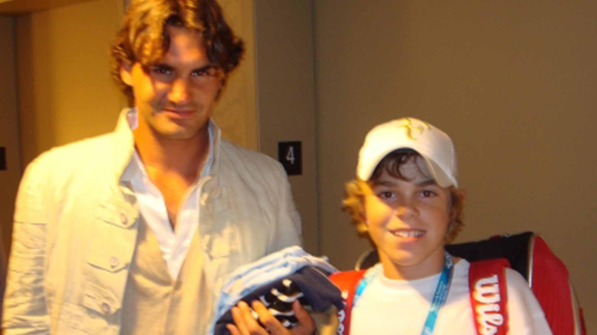 <a href='/en/players/roger-federer/f324/overview'>Roger Federer</a> and <a href='/en/players/reilly-opelka/o522/overview'>Reilly Opelka</a> met in Cincinnati years ago.