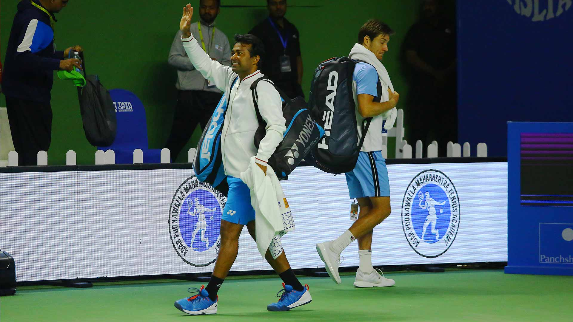 <a href='https://www.atptour.com/en/players/leander-paes/p269/overview'>Leander Paes</a> bids farewell at his home country tournament, after he and <a href='https://www.atptour.com/en/players/matthew-ebden/e690/overview'>Matthew Ebden</a> bow out in the Pune quarter-finals.