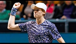 Jannik Sinner beats the first Top 10 player of his career with victory over David Goffin on Thursday in Rotterdam.