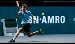 Aljaz Bedene beats World No. 6 Stefanos Tsitsipas on Thursday for a place in the Rotterdam quarter-finals.