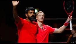 Rohan Bopanna and Denis Shapovalov thank the crowd for their support on Thursday at the ABN AMRO World Tennis Tournament.