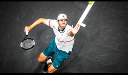 Reilly Opelka hammered 20 aces en route to defeating Yoshihito Nishioka at the New York Open.