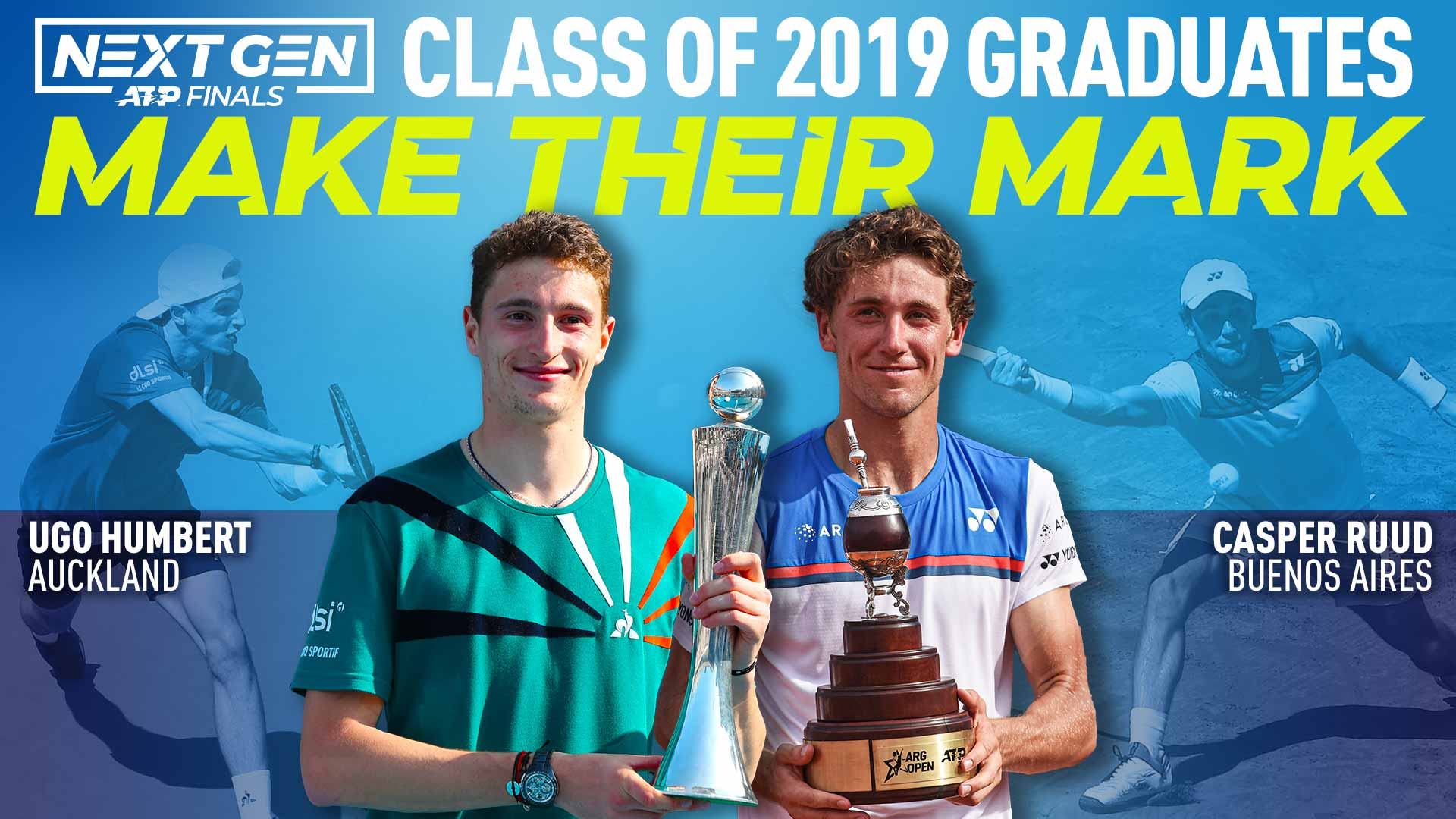 Ugo Humbert and Casper Ruud competed at the 2019 Next Gen ATP Finals in Milan.