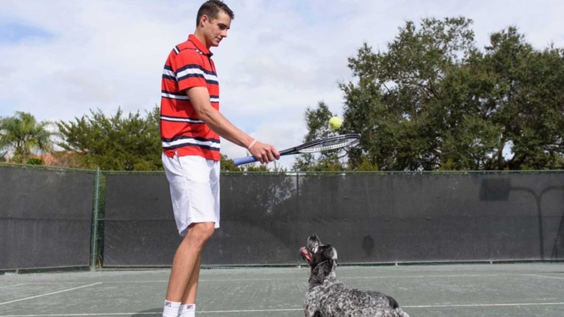Isner and dog