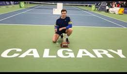 Arthur Rinderknech celebrates his second ATP Challenger Tour title, prevailing in Calgary.