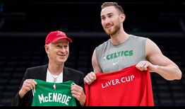 Team World captain John McEnroe swaps jerseys with Gordon Hayward of the Boston Celtics on Tuesday ahead of the 2020 Laver Cup in September.