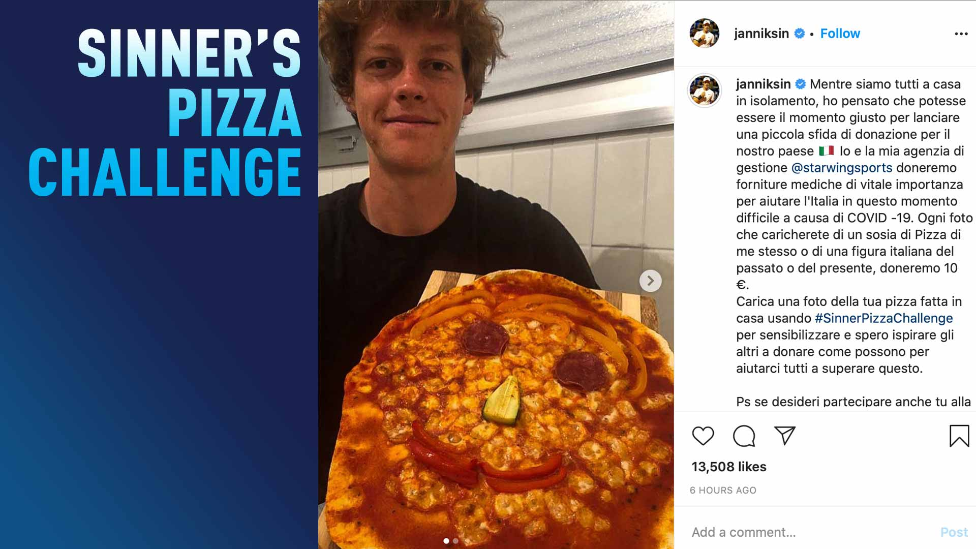 Alongside his management company Starwing Sports, <a href='https://www.atptour.com/en/players/jannik-sinner/s0ag/overview'>Jannik Sinner</a> pledges to donate €10 for every #SinnerPizzaChallenge post on Instagram.
