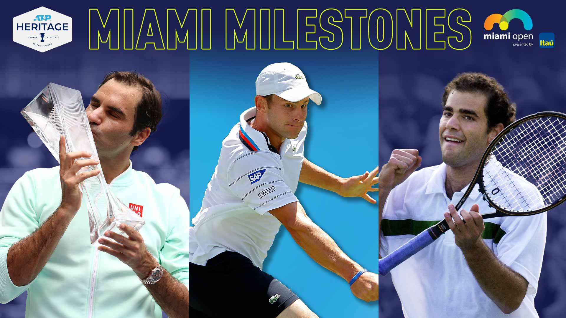 Roger Federer, Andy Roddick and Pete Sampras have lifted the Miami Open presented by Itau trophy on multiple occasions.